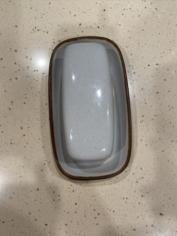 Denby, Handcrafted, Gray  Butter Dish, England