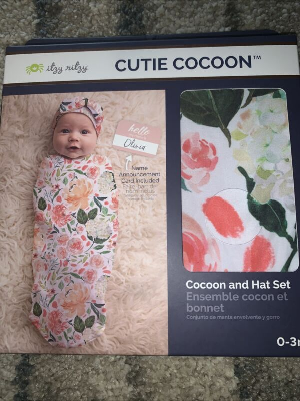New Itzy Ritzy Floral Cutie Cocoon and Hat Set Swaddle sz 0-3 months