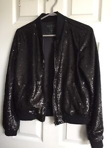 Guess Black Sequin Bomber Jacket