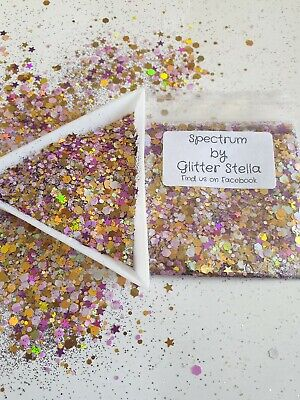 Nail Art Mixed Glitter ( Spectrum ) 10g Bag Gold Pink Chunky...