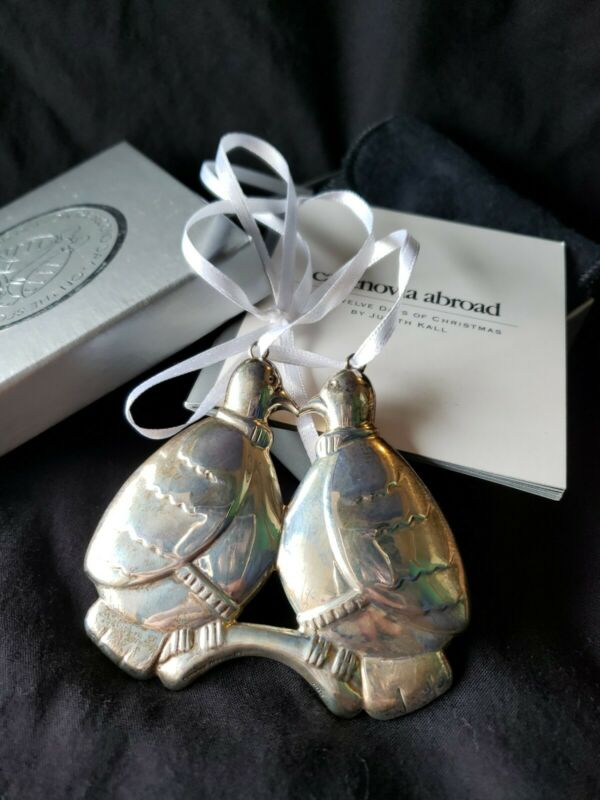 "Cazenovia sterling Silver Christmas Ornament Judith Kall ""Two Turtle Doves"" 2nd"