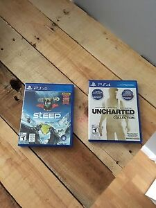 2 Ps4 games for sale.  40 steep & 20 uncharted