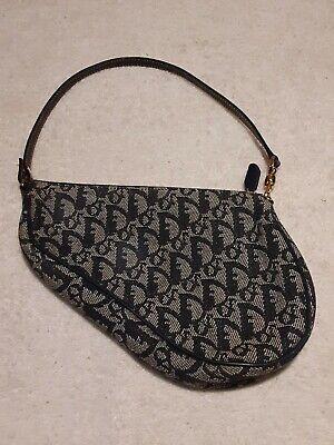 Vintage Christian Dior Saddle Bag Shoulder Bag Blue Pre-owned