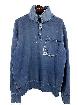 Polo Ralph Lauren Patchwork Sweatshirt Distressed Indigo Size XL (A-3)