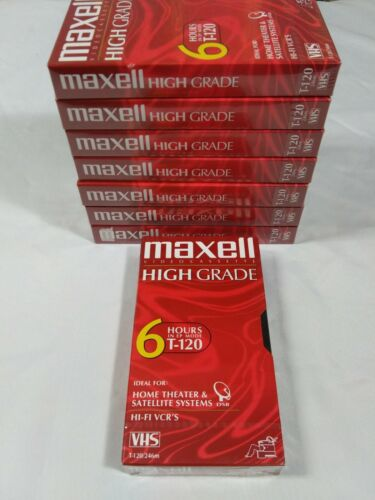 Vhs Maxell High Grade T-120 New Lot Of 8 Blank Tapes