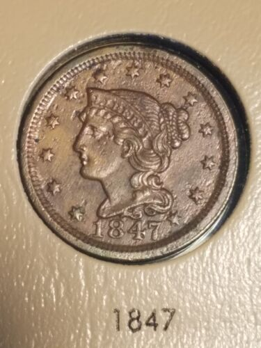 1847 Braided Hair Large Cent Slider UNCIRCULATED  - $149.99