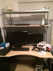 IKEA desk and leather chair