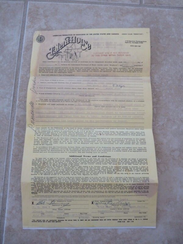 Jerry Lee Lewis Dual Signed Autographed 1982 2 Page Performance Contract