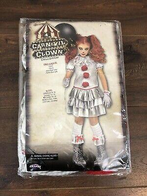 Scary Girls Costume (Girls Carnevil Killer Clown Costume Dress Kids XL, 14-16! Evil Scary)