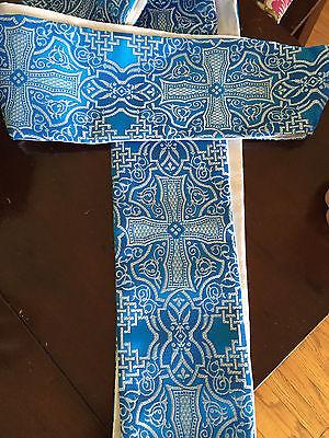 Blue Advent Clergy Stole Liturgical Vestment Brocade Celtic Cross Beautiful