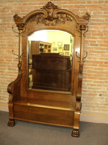 Large Antique Claw Foot Oak Hall Tree, Lion