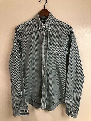 GANT By Michael Bastian blue & green gingham plaid button-front shirt (size: S)