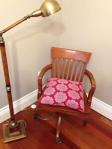 Solid wood swivel chair and Bombay lamp in excellent condition!