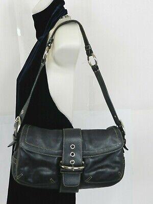 Coach 3653 Hampton Soho Medium Handbag Hobo Black Leather Shoulder Bag