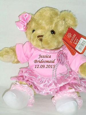 Personalised Teddy Bear Flower Girl Bridesmaid Wedding Gift Pink Dress & Bow ()