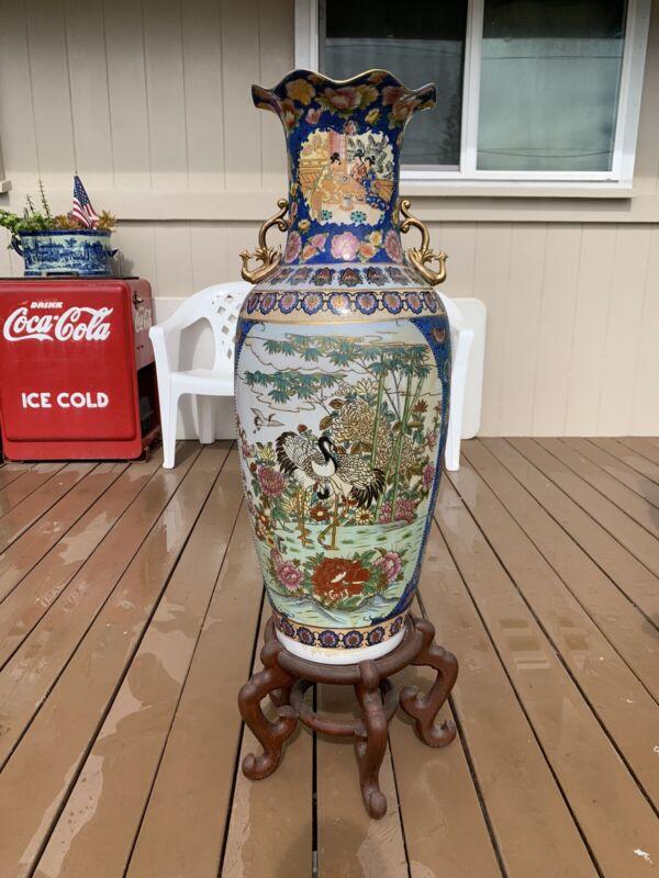 Stunning Huge 3ft+ Japanese Satsuma Porcelain Vase On Wooden Stand