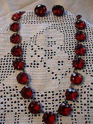 VINTAGE ANTIQUE ART DECO DEEP RED CZECH GLASS NECKLACE EARRINGS DEMI OPEN BEZEL