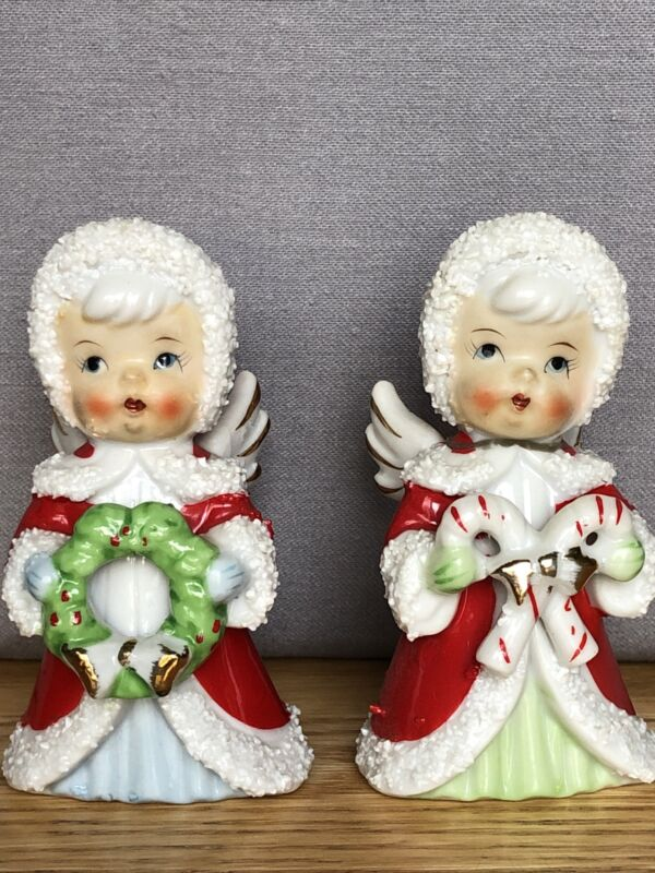 Vintage Pair Flocked Red Ceramic Christmas Angel Girls Candy Cane Wreath - Nice!