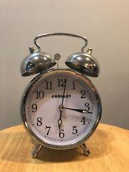 Crosley Vintage Silver Metal Alarm Clock- Very Good Condition