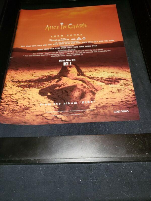 Alice In Chains Them Bones Rare Original Radio Promo Poster Ad Framed!