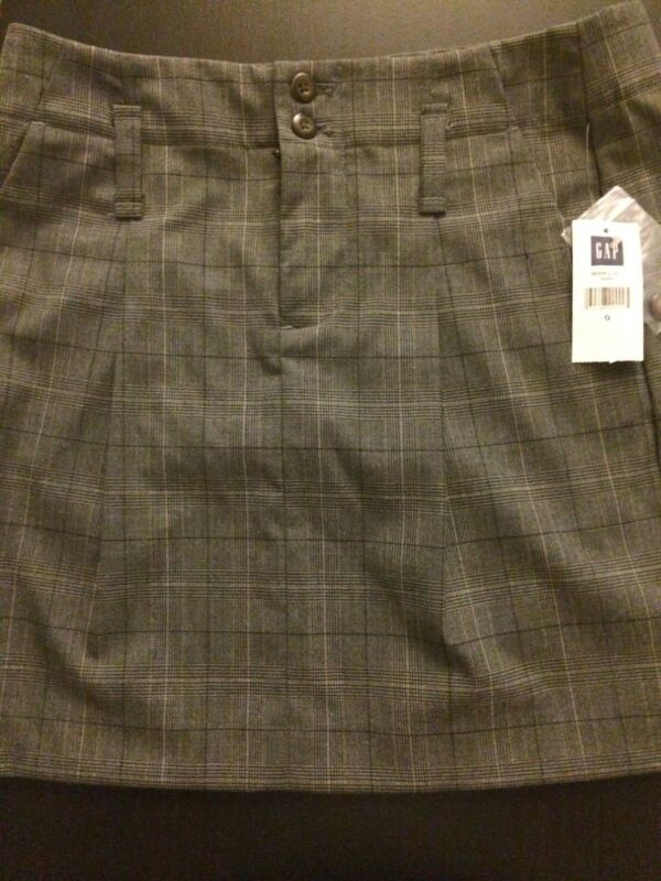 NWT GAP gapstretch Juniors Black Brown Gray Plaid Skirt Polyester Blend Size 0