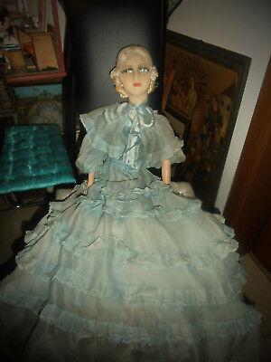 Antique French Boudoir doll c 1920 Fashion doll Paris Original Dress in blue