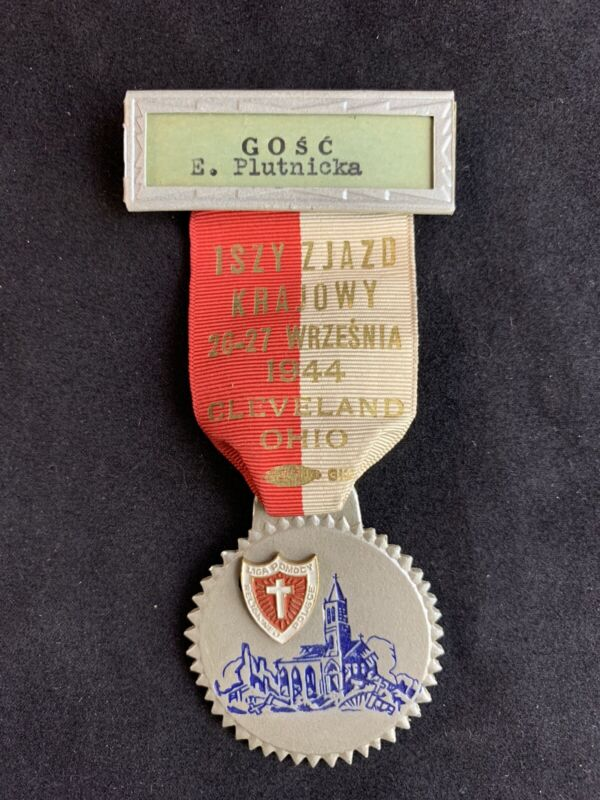 Vintage 1944 Polish American First Domestic Congress Lapel Pin Medal