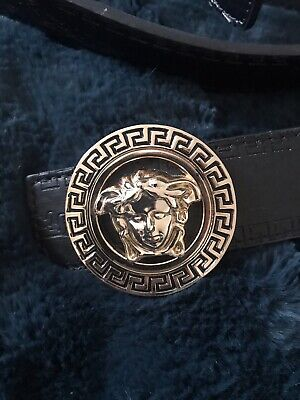 VERSACE GOLD MEDUSA HEAD BLACK LEATHER BELT 46/115