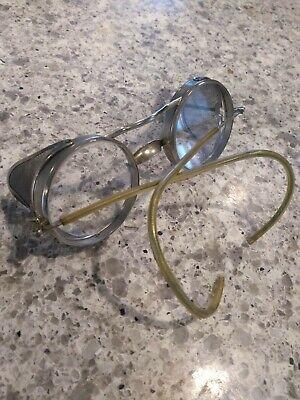 Vintage 1940's Safety Glass Prop Steam Punk Round Lenses Brass antique aviation