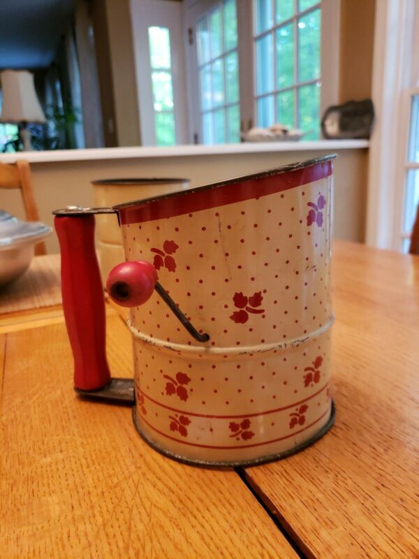 Vintage Antique *Flour Sifter*Cream With Red Leaves & Red Wooden Handles