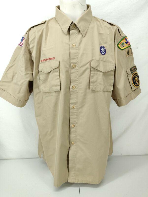 Boy Scout Uniform Shirt Extra Extra Large 2xl Mens Beige Short Sleeve Button Up