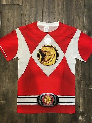 NWT Authentic Red Power Rangers Costume Sublimation Small Shirt Licensed (Authentic Power Ranger Costumes)