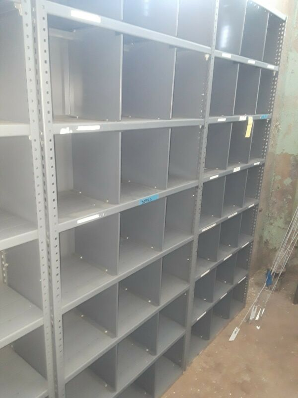 """1 Grey Metal Shelving approx 36"""" wide 12"""" deep and 84"""" high 1 shelf we have 2."""