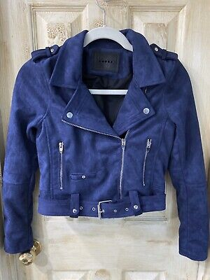 Blue Faux Suede Leather Girls Moto Jacket Size Large (12) Blank NYC Girls Faux Suede Jacket