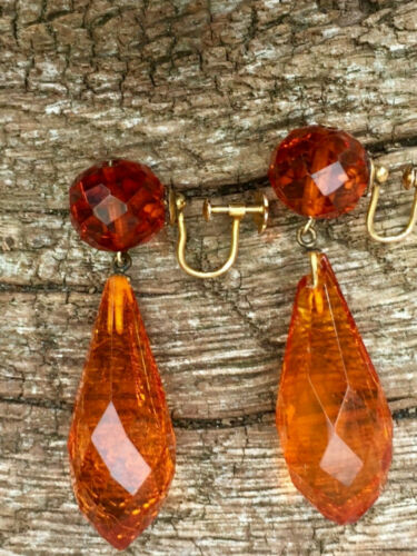 ANTIQUE ART DECO VINTAGE FACETED HONEY AMBER BEAD SCREW BACK EARRINGS 9CT STAMP