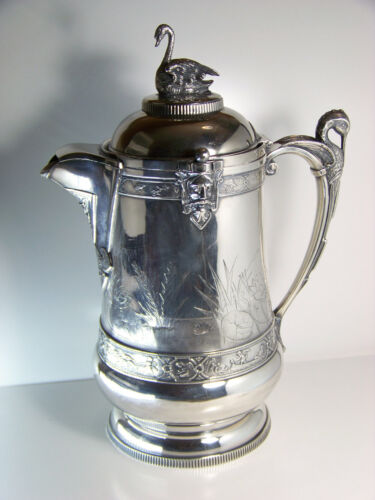 Reed & Barton Silverplate Aesthetic Ice Water Pitcher w/ Swan Finial Antique