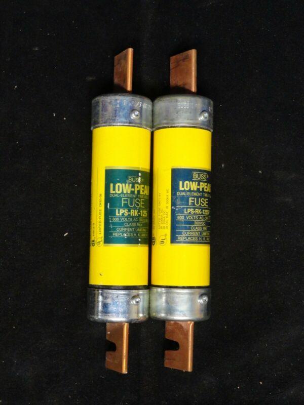 ( 2 ) BUSSMANN ~ LPS-RK-125SP ~ Low Peak Time Delay Fuse ~ 600V ~ NEW no BOX