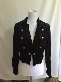 Calico Black Velvet Military Style Jacket Size 12 VGC