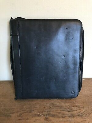 Monarch Franklin Covey Black Leather 3-ring 1.5 Zip Portfolio Planner Notebook