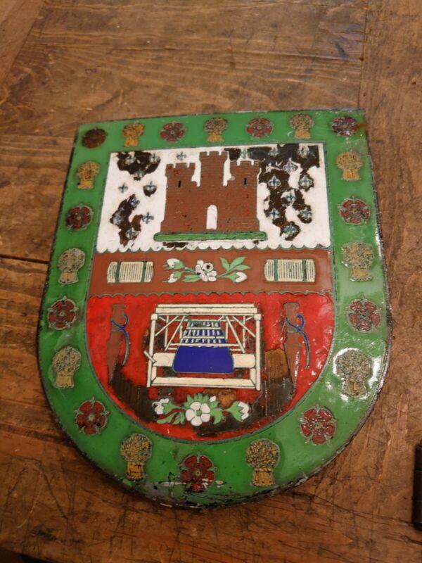 Antique Enamel sign Lancashire weavers Wall Plaque Badge
