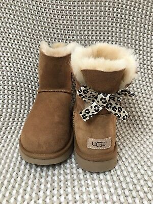 UGG MINI BAILEY BOW II EXOTIC CHESTNUT SUEDE BOOTS SIZE US 10 WOMENS