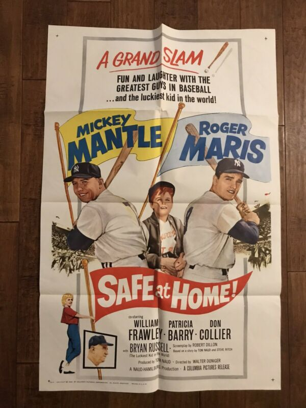 Safe At Home  - Original 1962 MINT 1sheet Movie Poster - Maris - Mickey Mantle