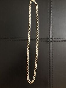 "10K Italy Figaro Link Gold 24"" Chain 32Grams"