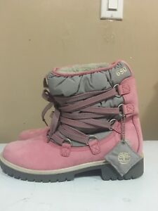 Woman's Pink and Grey Timberlands Winter Boots