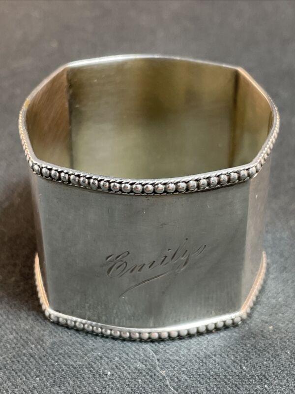 "Large 800 Sterling Silver Napkin Ring Hanau Region ""Emily"""
