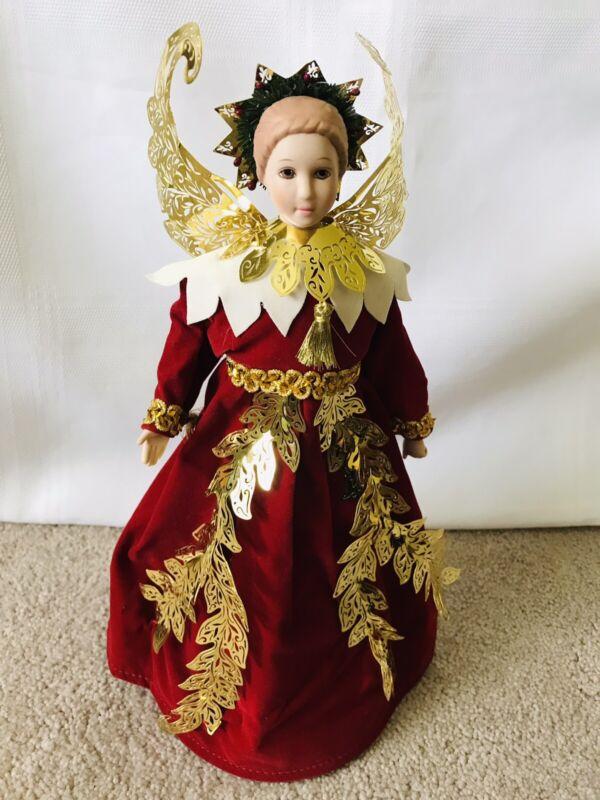 Vintage Angel Tree Topper Porcelain Head Red Velvet Skirt Gold Detail Taiwan