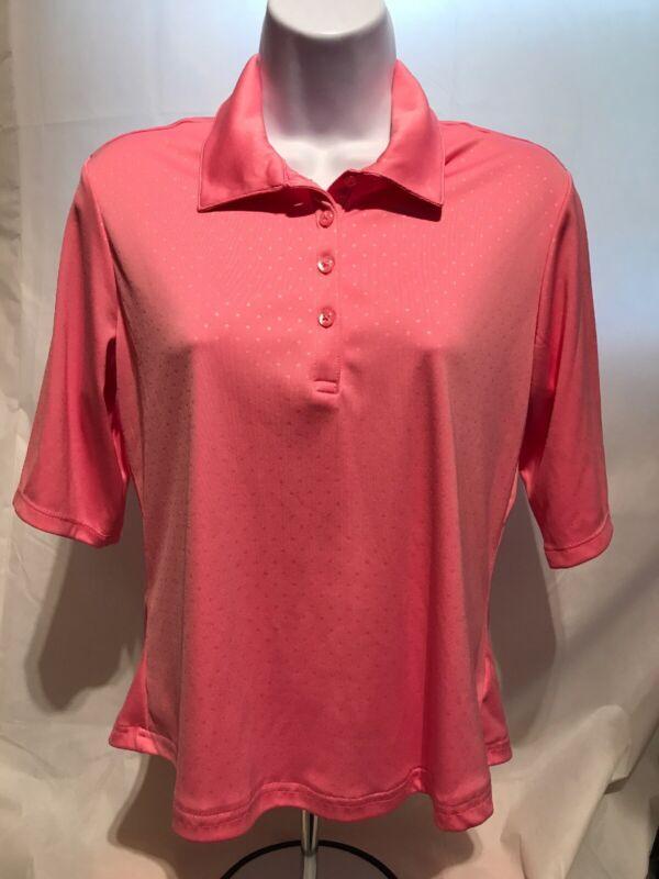 Greg Norman Womens Golf Shirt Small Pink Play Dri Button Front Short Sleeve