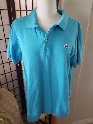 Men's Lacoste Polo Shirt Size 4 US M Solid Blue Short Sleeve Cotton Golf Tennis