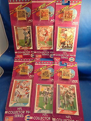 1991 PACIFIC FOOTBALL - ACE NOVELTY PIN & CARD (6) PACKS ! HALL of FAMERS !