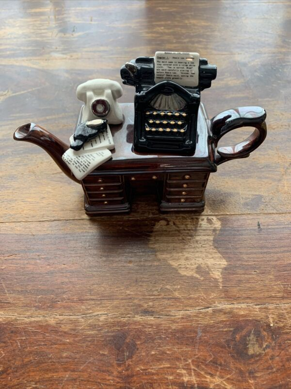 Vtg Paul CARDEW Design England Murder At Grange Crime Writers Desk Mini Teapot